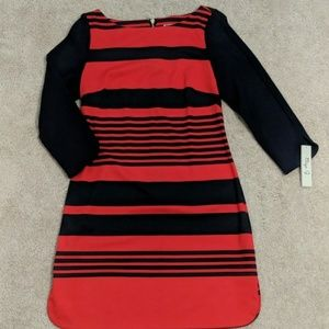 Eliza J striped red and navy shift dress NWT